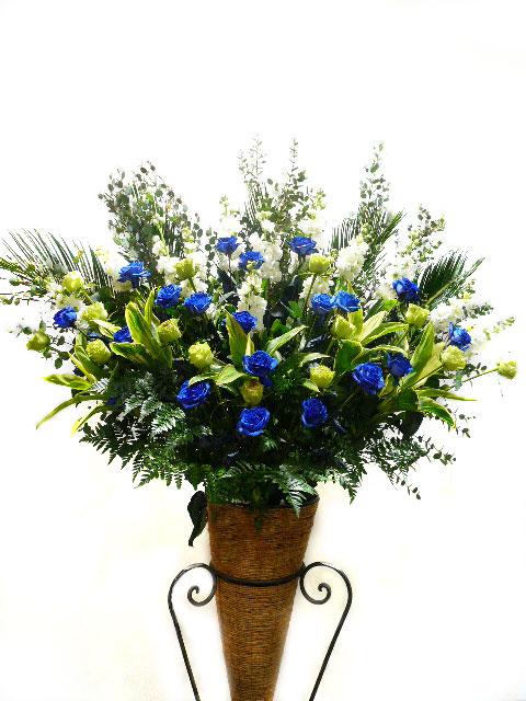 青バラスタンド花