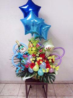 お誕生日祝い バルーンアレンジメント花