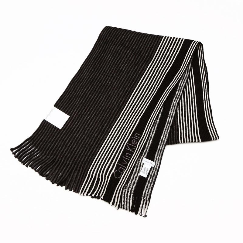 カルバンクライン Calvin Klein マフラー ブラックグレイ 77300