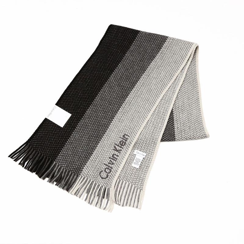 カルバンクライン Calvin Klein マフラー ブラックグレイ 77302