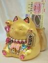 Glittery gorgeous ♪ Super jackpot Lottery Deco cat money box: Gold