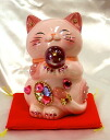 Glittery gorgeous ♪ Feng Shui invitation (CAT money box): l size: pink business thriving Grand opening celebration pass pray for us celebrate family a mascot