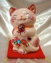Glittery gorgeous ♪ Feng Shui Maneki-Neko (money box) (m) size: pink business thriving Grand opening celebration pass pray for us celebrate family a mascot