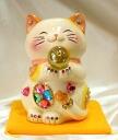 Glittery gorgeous ♪ Feng Shui Maneki-Neko (money box) (m) size: yellow business thriving Grand opening celebration pass pray for us celebrate family a mascot