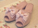 モアレリボンヒール slippers: pink size S (22 ~ 23 cm) size M (23-24 cm) l (24-25 cm) heel slippers 5 cm Ribbon room shoes fashionable take your slippers, school formal