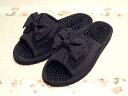Moire ribbon ♪ health sandals: Black