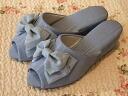 モアレリボンヒール slippers: Blue size S (22 ~ 23 cm) size M (23-24 cm) l (24-25 cm) heel slippers blue 5 cm Ribbon room shoe pun take your slippers, school formal