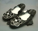 Shopping marathon! The mobile slippers which have a cute motif of the black camellia: Entering drawstring purse bag