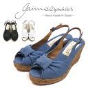 ガイモ GAIMO COREY5 espadrille wedge sole sandals cotton canvas ribbon Lady's shoes shoes thickness bottom white black black and white