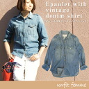 Instant delivery epaulet with vintage denim shirt long sleeve shirt ladies cotton t-shirt dungareeshats / cotton 100% to frank &eileen love / Navy Blue Indigo bargain sale