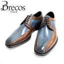 Brecos BRE COS 4856 (BRANDY/AZZURO: Brown/Navy) Combi outside feathers swirl leather shoes Brown mens business = = 10P20Sep14