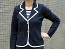 Finest cotton blend piping テーラードミラノリブ knit jacket / spring / outerwear / ladies / Navy / ivory
