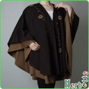 Layered cashmere blend 2 piece leather embroidered Cape