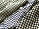 Japan-made cotton linen washer yarn-dyed gingham (Brown, red, green, Navy, black) M