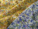 Japan-made Cupro Dobby stripe flower prints (yellow and blue) P