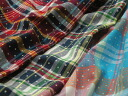 India cotton plain weave dyed Madras check x dot print of 3 L