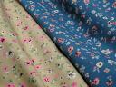 Made in Japan 20 / 10 cotton katsuragi stretch flower prints (Beige, blue) P