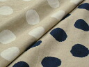 (売切れ products) Japan-made cotton linen canvas large polka dots print (Navy, white)