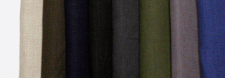 Nine colors of linen plain weave plain fabrics made in Japan