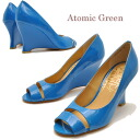 Atomic Green Atomic green shoes sale enamel leather ウエッジソールパンプウェッジヒール ladies pumps leather