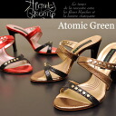 Atomic Green Atomic green Sandals sale studs design サンダルミュール ' snake embossed leather» ladies mule sandal leather