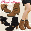 ★ 50% セールボアインナー short boots booties with belt 2-way PINK MARS ピンクマース ladies boots