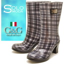 \ Midsummer code support, made in Italy gingham check rubber boots rain boots heel up G & G rubber Gee & ジーラバー boots mid-length * this product, ladies rain boots will be 2-4 days after your order ships.