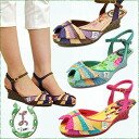 Panama material wedge sole sandal the colorful flower insoles! It's all pretty L by Miss L-Fire エルバイミスエルファイアー ladies sandal