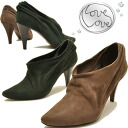 ↓ PRICE falls from real leather software nubuck leather shirring booties Love Love love love ladies bootee leather↓