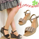 Mode et Giacomo Lover souL ラヴァーソウル wedge sole Zebra dress up foil processing ティアードリボンス strap sandals