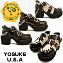 With Cox-style UK taste PUNK-ROCK-flavored thick bottom ゴツカジ shoes with a chain ladies punk rock boots * black Combi is discontinued YOSUKE U.S.A Yosuke shoes belts decoration.