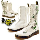 Rockin' roses embroidery 14 hole boots laced boots lace up [White] (women's shoes), Dr.Martens Martens ladies spring boots ladies boots punk Lolita