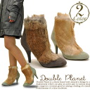 ! Leather suede furry boots with fur short boots with back zip real far Double Planet ダブルプラ NET ladies boots bootee
