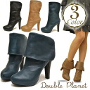 ! Before thick leather 2-WAY Middle boots platform Bootie wrap 2-WAY back zip Double Planet ダブルプラ NET ladies boots bootee