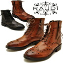 Leather men's wing tip boots work boots lace-up サイドジップ RAUDI Rudi lace-up boots * orders after 2-4 days after the delivery within. MEN's BOOTS LEATHER