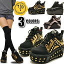 YOSUKE U.S.A shoes ( Yosuke ) studs thick bottom platform form boots ladies sneaker wedgesole punk