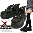 No YOSUKE ヨースケプラット form sneakers ヌバックスムース Combi Velcro to type Buffalo type thickness bottom sole ladies sneaker punk Womens thickness bottom sneakers スケッチャーズファン Super specials! * (Reserved) October late receipt will book sales