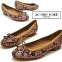 Python embossed Ballet pumps flat shoes pettanko pettanko shoes pumps JOHNNY MOKE Johnny make ladies pumps leather