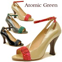 Enamel color belt open toe pumps ankle strap Atomic Green Atomic green ladies pumps leather