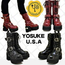 Thickness bottom platform form boots lace-up boots Middle YOSUKE U.S.A Yosuke shoe store ladies sandal boots punk
