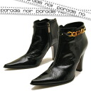 It is booties paradais noir パラディノアール ladies boots bootee leather of the chain decoration to a pointed toe