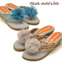 ラバーポンポン swaying thong Sandals wedge sole sandal neue marche ノイエマルシェ ladies sandal