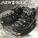NEWROCK new rock five-pointed stars leads to heaven or hell! Metal spike steals lace-up short boots M.110