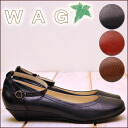 ミニウエッジヒール ankle strap pumps WAG wag leather ladies pumps