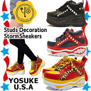 It is recommended in appearance ★ thickness bottom sneakers studs panther pattern YOSUKE U.S.A ヨースケ ladies sneaker スケッチャーズファン for coloring mold thickness bottom sneakers remake!
