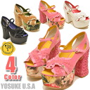 Thick bottom Sandals open to thick bottom pumps ruffle strap YOSUKE U.S.A Yosuke shoes yosuke shoes Hara-Juku series fashion * after ordering after 2-4 days delivery within.