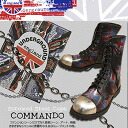 UNDERGROUND underground grunge Union Jack force steel toe 10 hole boots