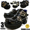 YOSUKE U.S.A Yosuke ★ black back in stock ★ thick bottom shoes are gods of casual of basic multiple ストラップマニッシュ shoes