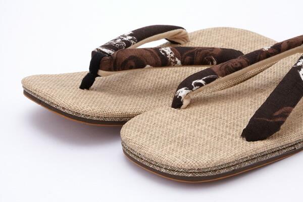 ひらいや original new Panama list leather-soled sandals