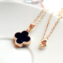 Cute black clover necklace * we deliver only first photo products. (The length of the chain: 40 cm) 0266 _auktn02P04Jul15 ★ ★ ladiesaxesallypiasfomal wedding dress party, etc. more than 5,000 yen